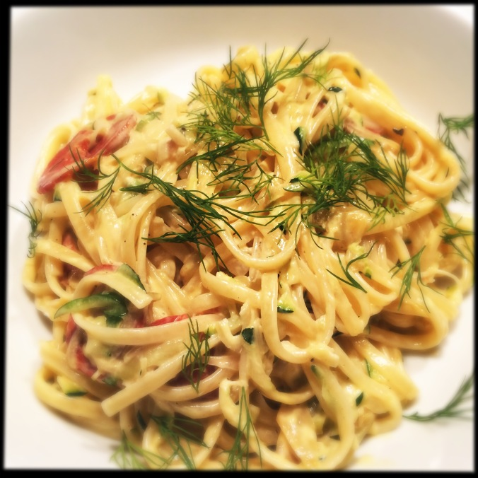 Linguine with courgette, chorizo and cream