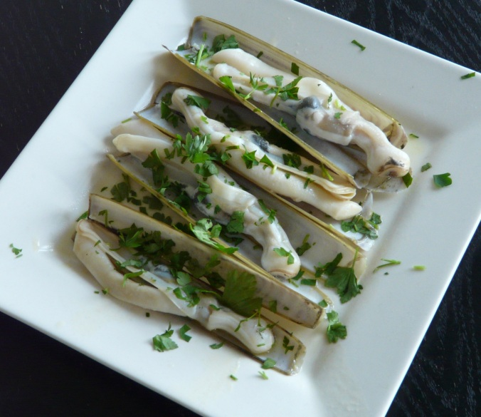 A plate of Razor Clams
