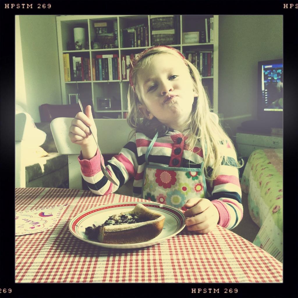 Eating Baked Blueberry Pancake for Valentines