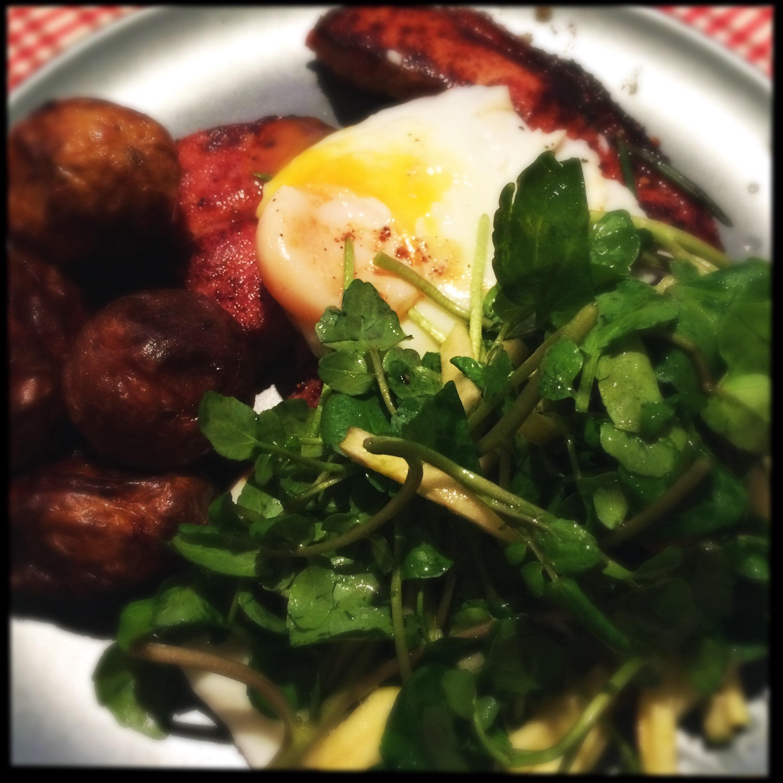 Gammon, Egg and watercress salad