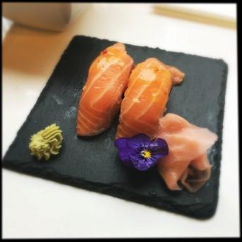 crispy salmon nigiri