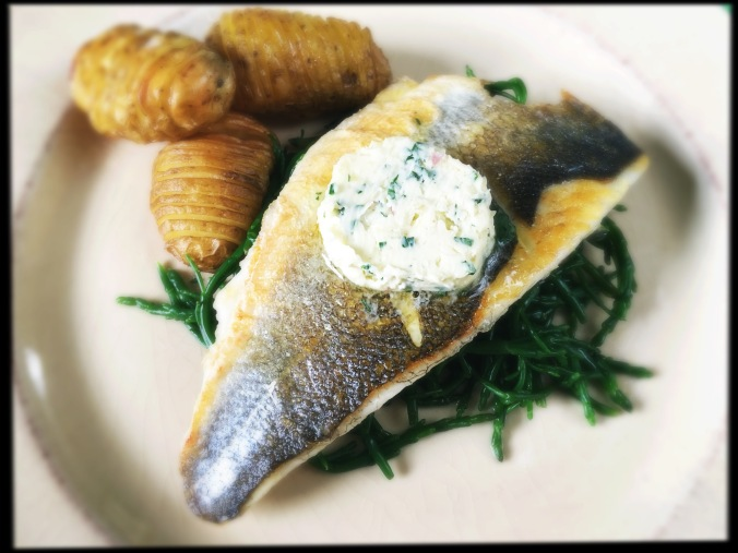 seabass with samphire and lemongrass butter