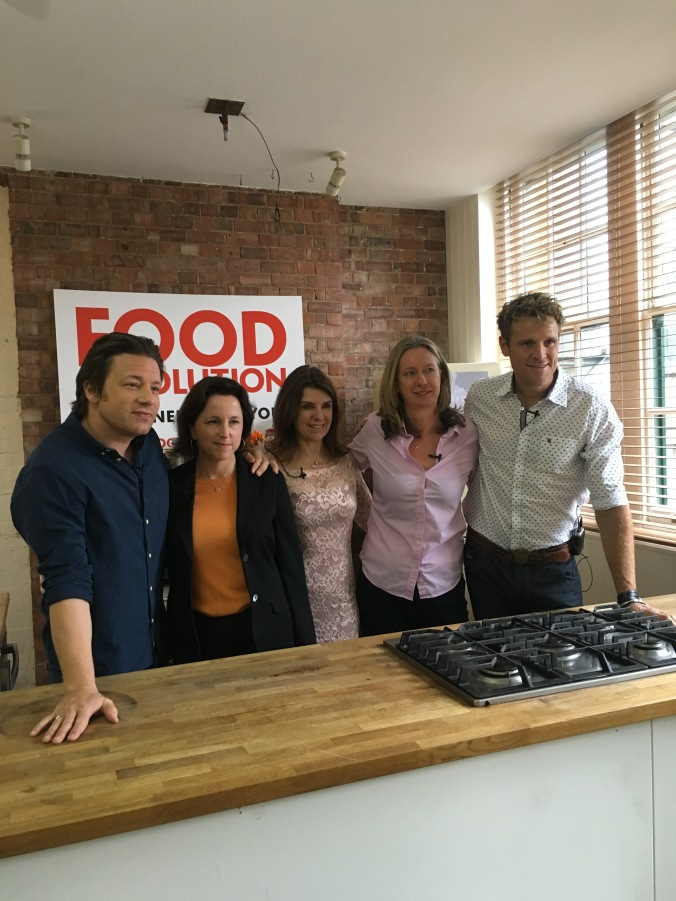 Jamie Oliver, Jackie Long, Dr Dawn Harper, Justine Roberts and James Cracknell