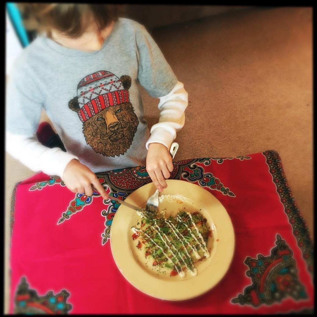 Felix eating Okonomiyaki