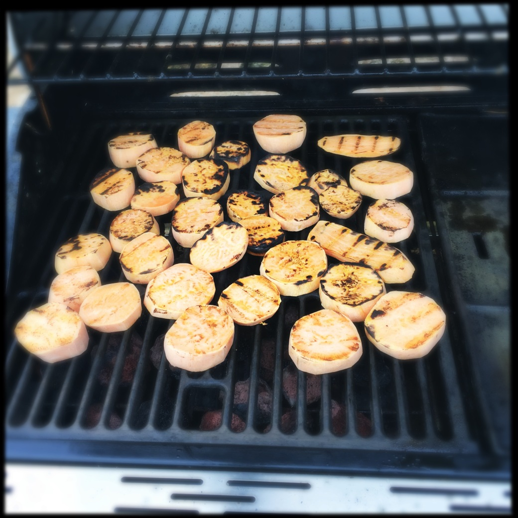 barbequed sweet potato slices