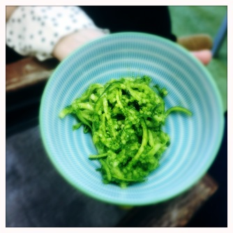 courgette spaghetti, millet, preserved lemon and herb pesto