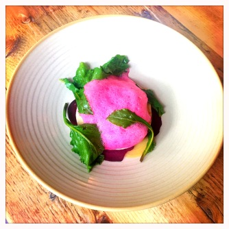 goats cheese ravioli with pickled beetroot