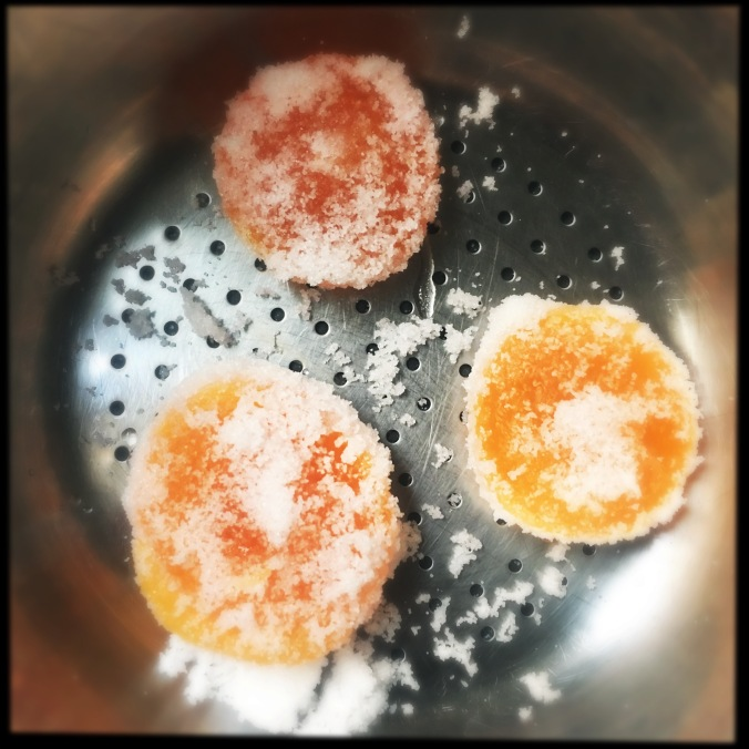 cured egg yolks ready to be rinsed