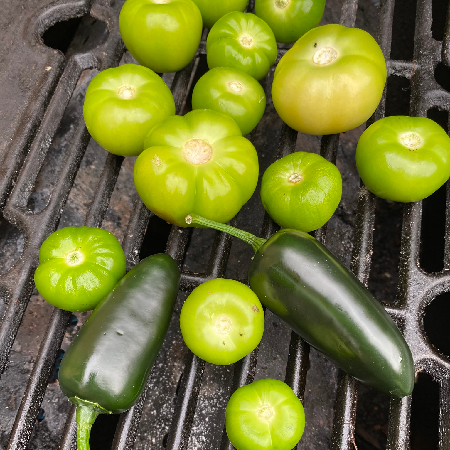 blistering tomatillo and jalapeno fruits