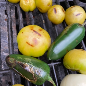 charring jalapeno and tomatillo